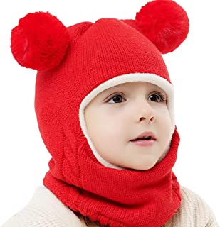 Toddler Baby Kid Boy Girl Cute Hooded Scarf Hat Winter Warm Knit Flap Scarf Cap Solid Color Fashion Hat