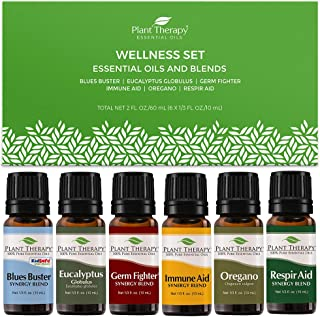 Plant Therapy Wellness Essential Oil Gift Set. Includes: Germ Fighter, Immune-Aid, Respir-Aid, Blues Buster, Eucalyptus an...