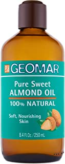 Sweet Almond Oil For Skin and Hair - Amber Glass Bottle to Preserve Nutrients and Avoid Degradation - 100% Natural Body Oi...