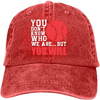 LeoCap You Don't Know Who We are. But You Will Baseball Cap Unisex Washed Cotton Denim Hat Adjustable Caps Cowboy Hats