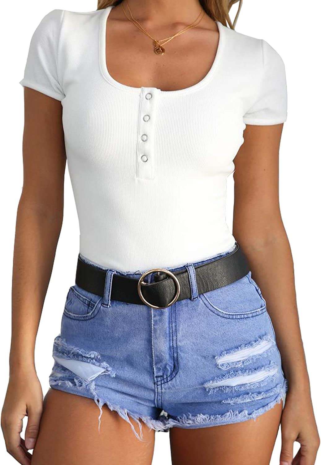 Womens Short Sleeve Button T-Shirt Top Ribbed Cotton Size 12 White PC