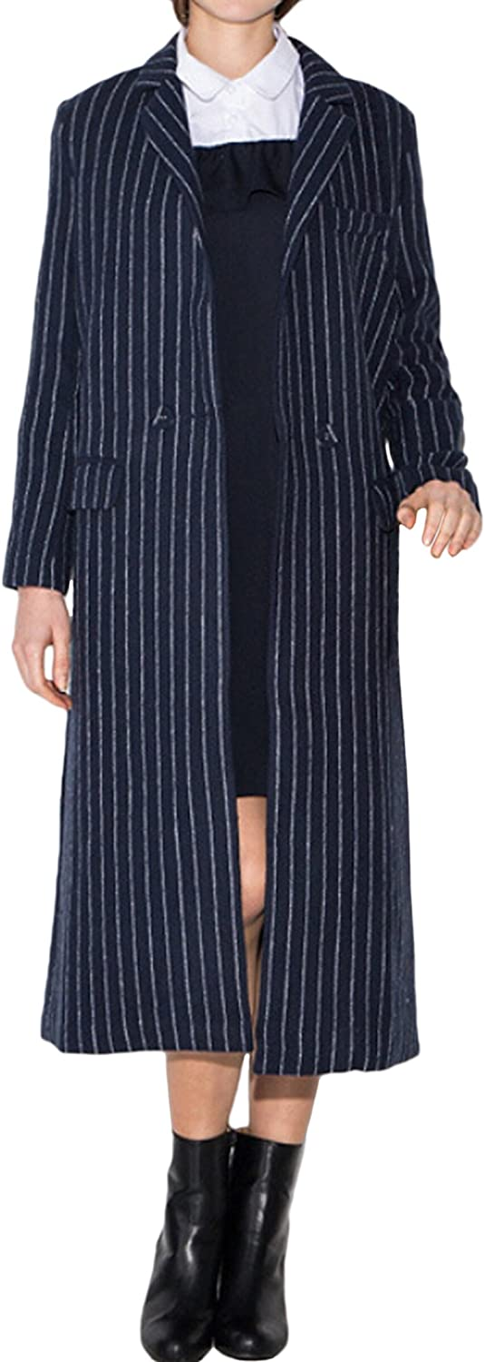 Muke Women's Retro Stripes Lapel Doublebreasted Long Sleeves Suit Business Coat