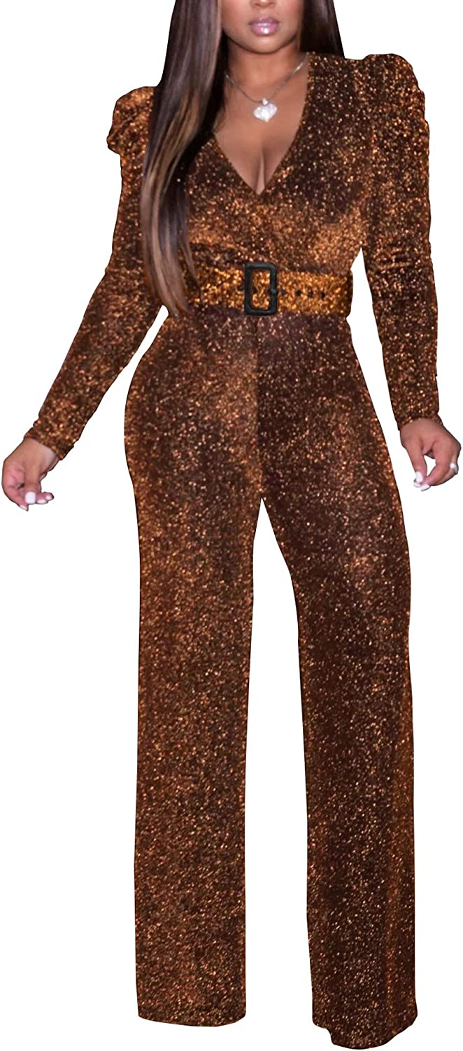 shengfan Women's Sexy Sparkly Jumpsuits Clubwe Purchase Plus Online limited product Size Elegant