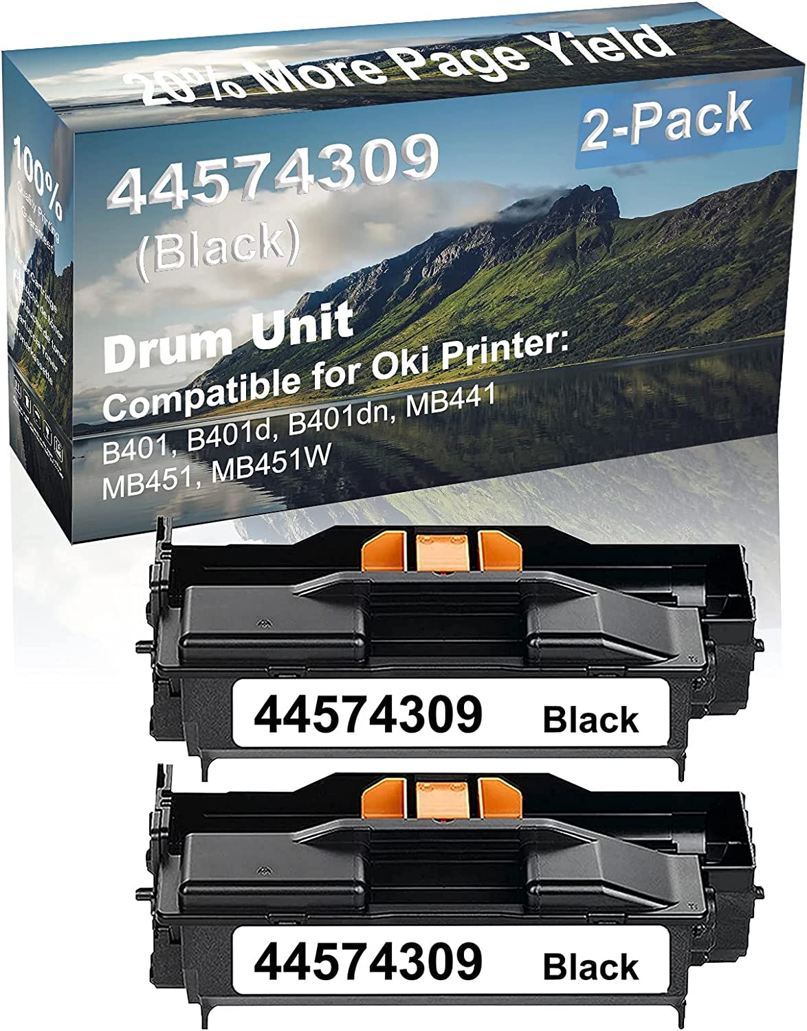2-Pack Compatible Drum Unit (Black) Replacement for Oki 44574309 Drum Kit use for Oki MB451, MB451W Printer
