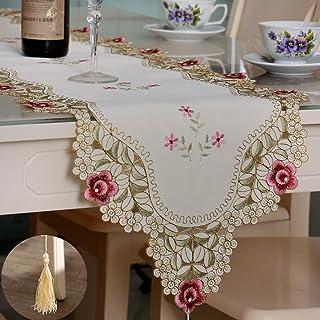 Chemin de table décoratif rétro TeeRFU – 40 x 177 cm, broderie florale creuse, linge de table d'automne, Lin, rose, 16x70inch