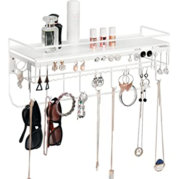 MK237B - White,16.9 x 5.9 x 7.1 inches JackCubeDesign Hanging Jewelry Organizer Necklace Hanger Bracelet Holder Wall Mount Necklace Organizer with 9 Hooks and Bamboo Support