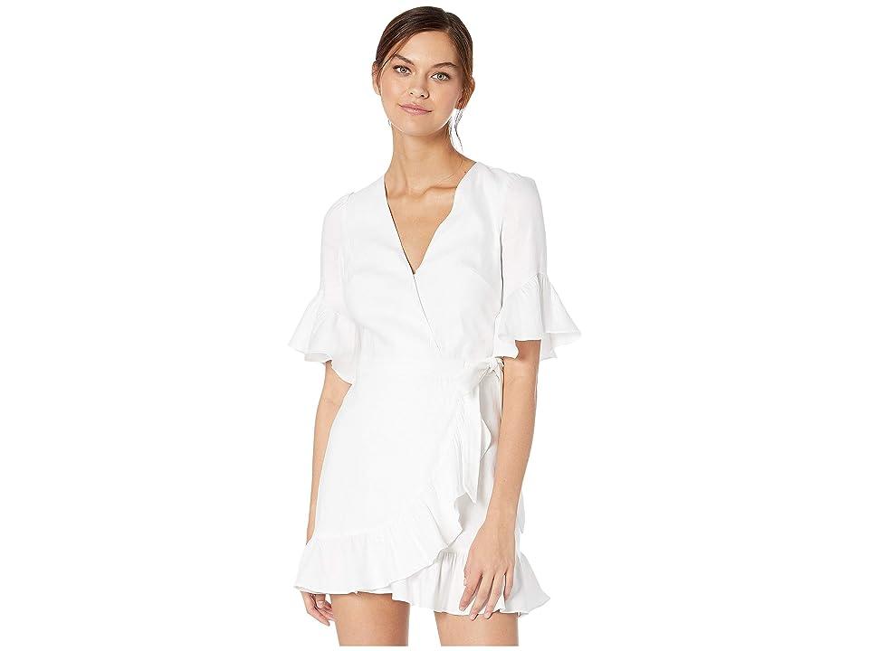 Bebe Linen Wrap Mini Dress (Bright White) Women