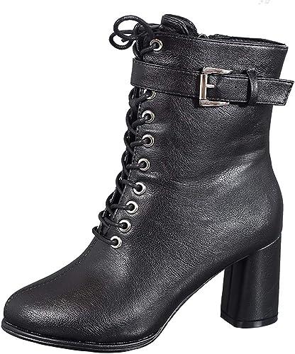 LBTSQ Chaussures Femme La Mode La Cravate La Hauteur du Talon 7Cm Martin Bottes D'épaisseur des Talons des Bottes des Boucles De Ceinture Beau Noir des Bottes Mi - Baril