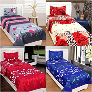BSB HOME® Glace Cotton 160 TC with 200 GSM Set of 4 Single Bedsheet with 4 Pillow Cover (Blue, Purple and Black)