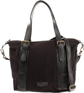 LECONI Schultertasche im Vintage-Look aus Canvas  Leder Henkeltasche für Frauen Handtasche Retro-Style Damentasche Umhängetasche Damen 36x31x13cm LE0049-C