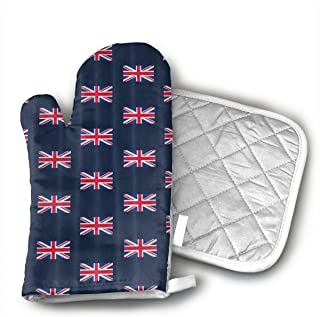 YASHENSG UK Flag Union Jack Heat Resistant Oven Mitts and Pot Holders,Advanced Heat Resistant Oven Mitt,Soft Cotton Lining with Non-Slip Surface