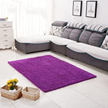 Encrypted Chenille shag Absorbent Non-Slip Rug, Solid Color Living Room Bedroom Rug (Size : 140 * 200cm-purple)