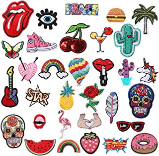 Soleebee 29 Pcs Random Iron-on or Sew-on Patches Applique Accessories Hand Embroidered Patches Set for DIY Clothes, Jeans, Bag, Shoes (Skull/Rainbow/Balloon)