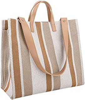 Sling Bag Striped Simple Square Portable Canvas Bag Large Capacity Bag Fashion Single Shoulder Messenger Bag KAVU Bag (Color : Apricot)