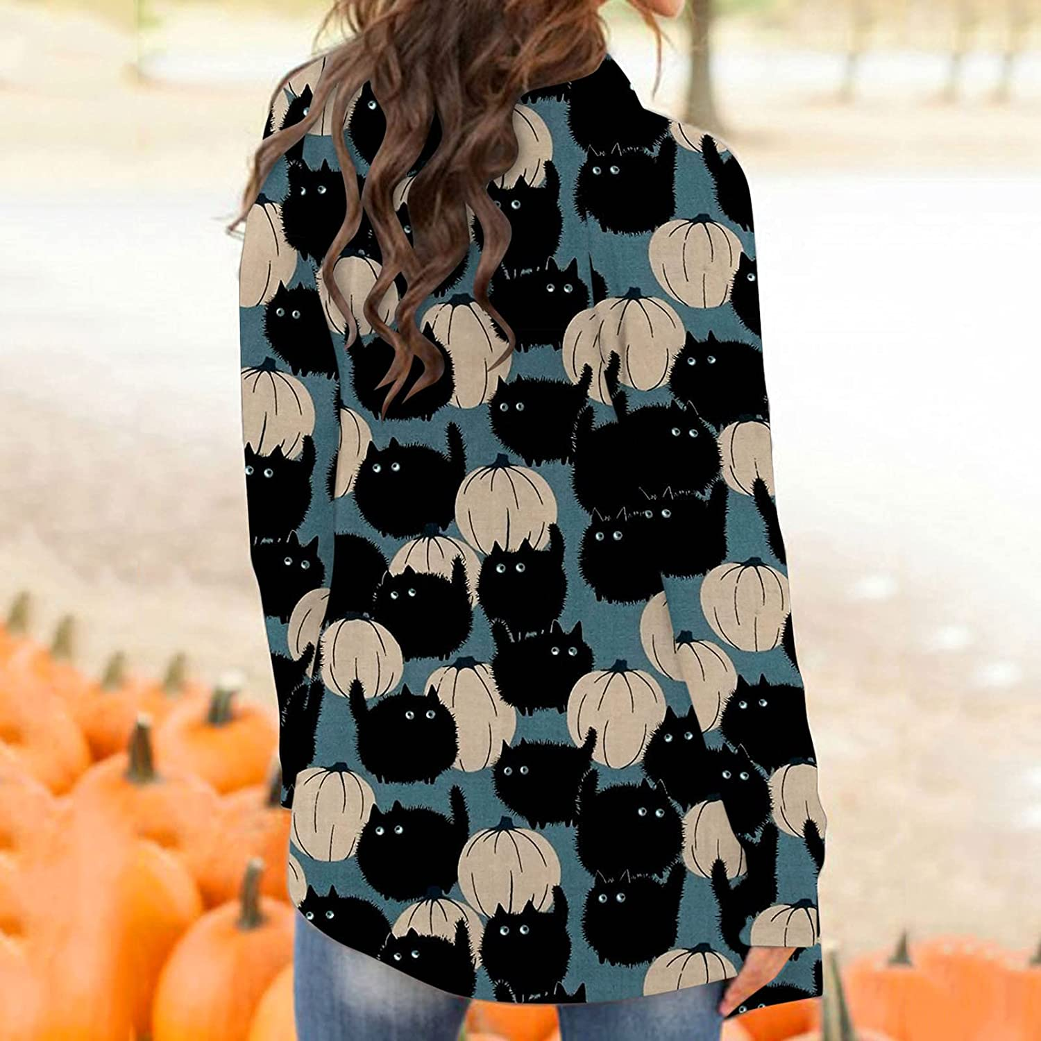 Women Halloween Long Sleeve Open Front Cardigan Shirts Funny Cute Pumpkin Animal Cat Ghost Graphic Sweaters Tops Blouse