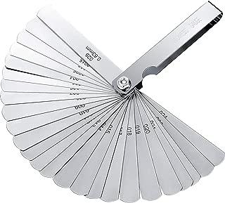 Hotop Stainless Steel Feeler Gauge Dual Marked Metric and Imperial Gap Measuring Tool (0.04-0.63 mm, 26 Blades)