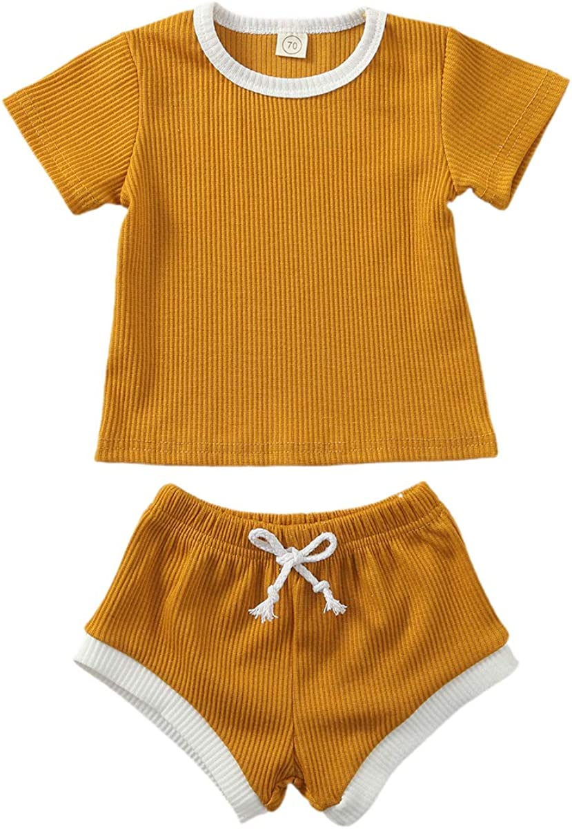 Baby Direct sale of manufacturer Girl Boy Shorts Set Knit Short Tops w Summer Fixed price for sale T-Shirt Sleeve