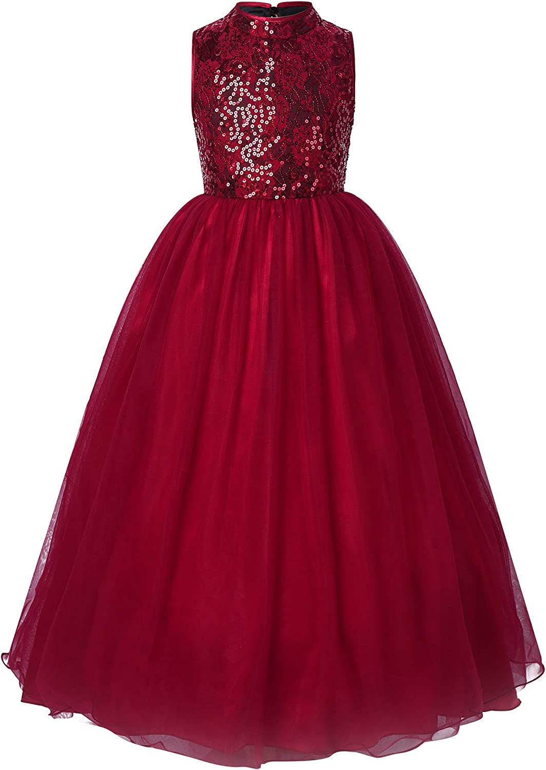 CHICTRY Big Girls Kids Sleeveless Sequin Lace Tulle Dress Wedding Pageant Christmas Formal Party Gowns