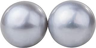 Light Grey Freshwater Pearl Stud Earrings Sterling Silver 10mm