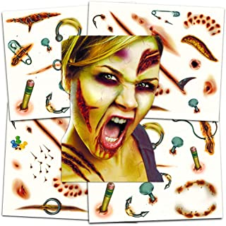 Zombie Temporary Tattoos Party Supplies Pack (6 Sheets -- Over 60 Wound Tattoos Total)