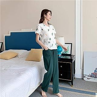 Pijamas Ropa De Dormir Pijamas De Algodón para Mujer Pijamas Lavados con Agua Pantalones Largos De Manga Corta Ropa De Dormir Traje De Casa Pijamas De Mujer con