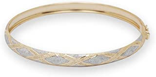 Solid 10k Two-tone Gold 7-inch or 8-inch X-design Bangle Bracelet for Women