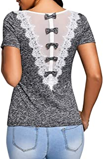 Han Shi Womens Plus Size Embellished Bowknot Lace Trim Blouse Summer Casual Shirt Tops