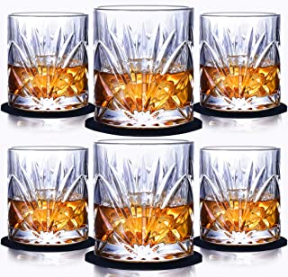Whiskey Glass Set of 6, 10oz Old Fashioned Glasses Crystal Tumblers Drinkware for Whisky Bourbon Scotch Liquor Cocktails with Coasters and Luxury Box