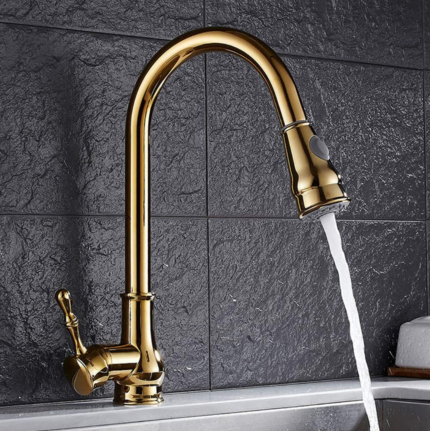 redOOY Kitchen Faucet Hot and Cold Water 360 Degree redation gold Brass Brushed Mixer Tap Sink Faucet Vegetable Washing