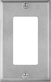 "ENERLITES Decorator Switch or Receptacle Outlet Metal Wall Plate, Corrosion Resistant, Size 1-Gang 4.50"" x 2.76"", UL Listed, 7731, 430 Stainless Steel, Silver"