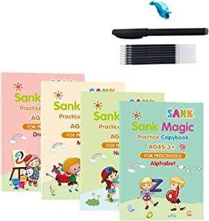 kelebin Magic Practice Copybook Set Magic Calligraphy That Can Be Reused English Tracing Book Number Tracing Book for Pres...