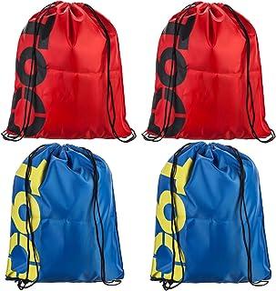 حقائب ظهر برباط لصالة الألعاب الرياضية - 4 قطع حقائب 43.18 سم حقيبة ظهر بسلسلة سوداء (2 أحمر + 2 أزرق)