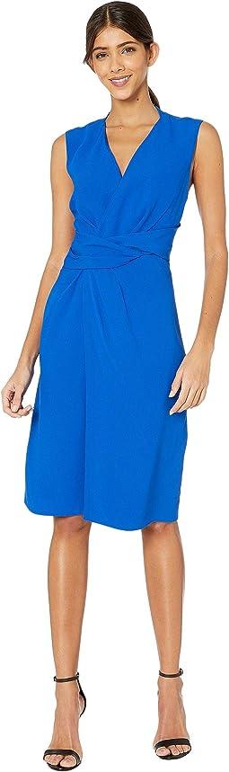 Crepe V-Neck Dress w/ Draped Waist