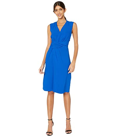 Adam Lippes Crepe V-Neck Dress w/ Draped Waist (Cobalt) Women