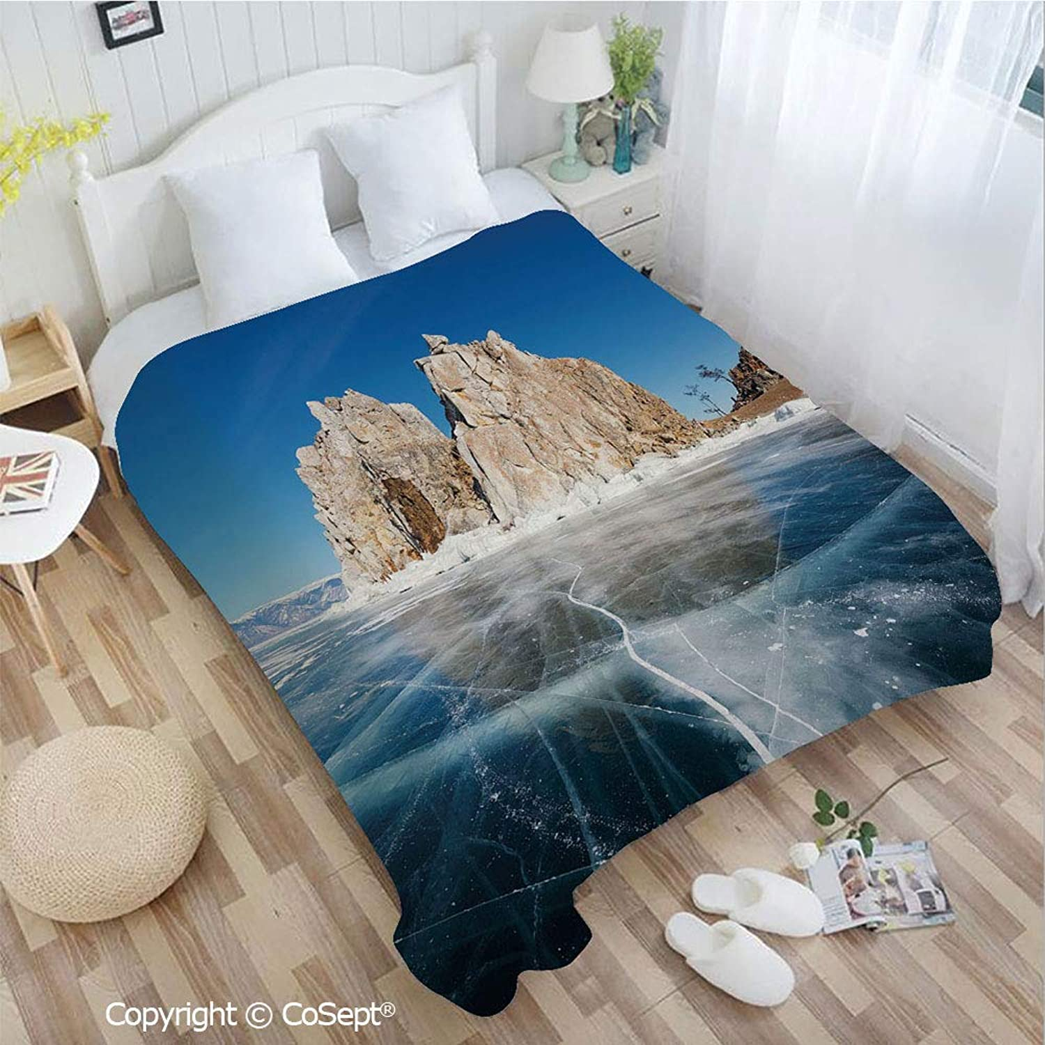 PUTIEN Luxury Flannel Blanket,Frozen Lake Baikal in Siberia with Icicles Scenic Nature Surface Structure Cold Climate Decorative,All Season Use(72.83  x 78.74 ),