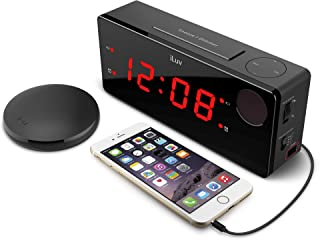 iLuv TimeShaker Boom - (Upgraded) Digital LED Dual Alarm Clock with Wireless 3 Level Intense Vibrating Shaker, Heavy Sleepers, Radio Alarm Clock, USB Charging Port, Dimmer for Kids and Bedroom