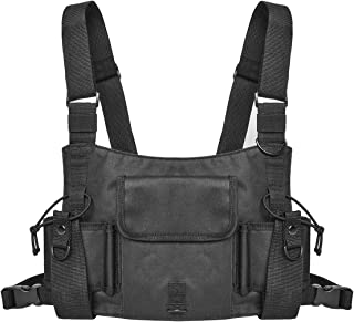 WIOR Radio Harness Shoulder RigBag for Men & Women Chest Vest Rigs Tactical for Two Way Radio Walkie Talkie - Black