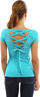 Women Scoop Neck Lace Up Back Blouse