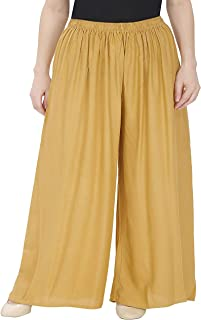 Zoya Collection- Women Rayon lower - Plazo - GOLD Color- PLUS SIZE fits 40-48 waist.