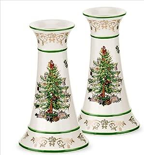 Spode Christmas Tree Gold Gold/green Candlesticks Medium Se