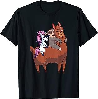 Unicorn Sloth Llama Shirt Unicorn Sloth Riding Llama Gift T-Shirt