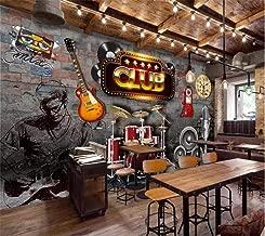 250x H 175 cm W MGQSS Papel pintado Mural Barra de tema de m/úsica de pared de ladrillo nost/álgico retro 3D Auto-adhesivo PVC Fotos Papel pintado La habitaci/ón de los ni/ños Chico Chica Dormitorio Fon