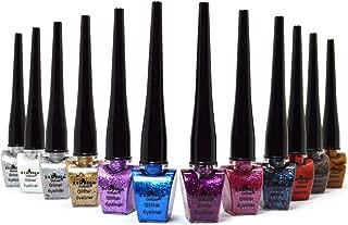 Italia Deluxe Liquid Glitter Eyeliner 12 Shimmery Glitter Colors + Free ZipBag