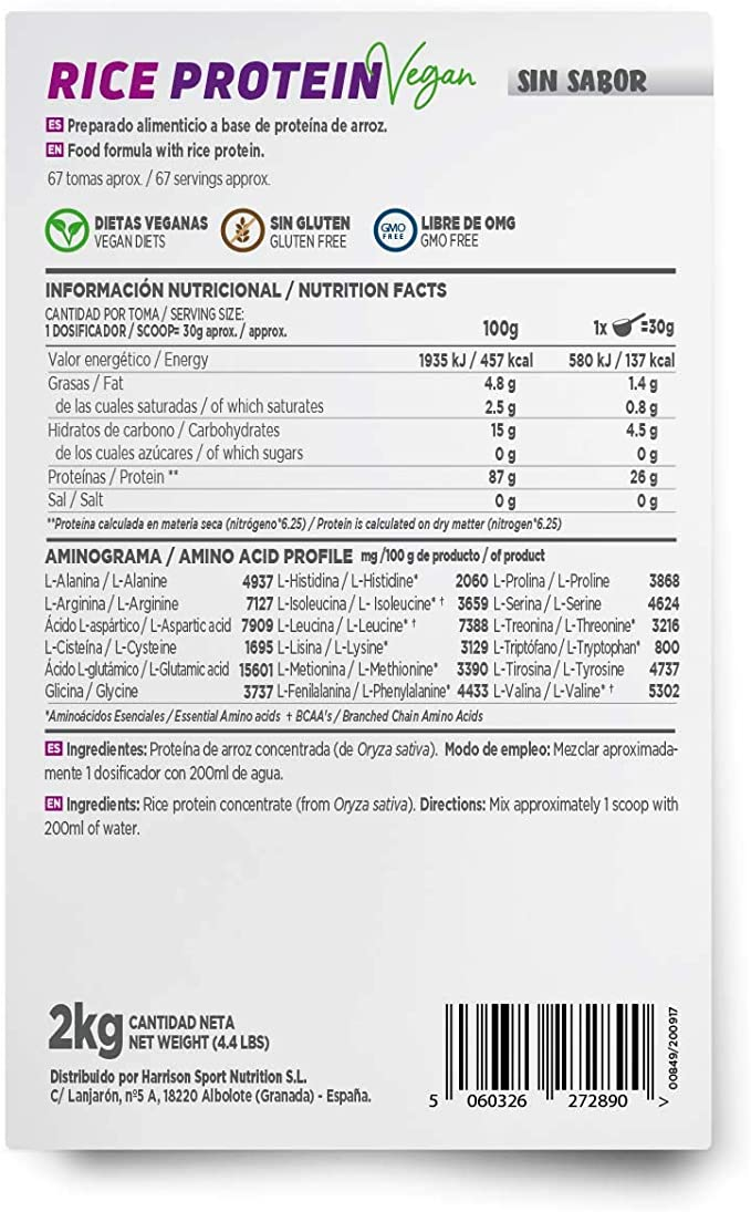 Proteína de Arroz de HSN | Proteína Vegana Concentrada de Arroz Integral | Rice Protein Powder | Recuperación + Masa Muscular | Sin Azúcar, Sin ...