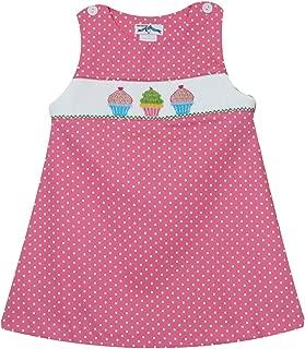 Cupcakes Smocked Pink Polka Dots Girls Jumper