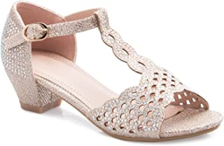 74d1b2c0cb9ffb OLIVIA K Girls Glitter and Rhinestone Open Toe T-Strap Kitten Low Heel  Sandals (