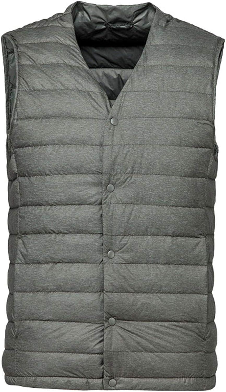 Matt Fabric Men's Down Vest Ultra Light Down Vest Portable Coat Man Warm Liner ArmyGreen S