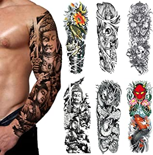 Extra Large Fake Tattoos,Full Arm Temporary Tattoos Sticker For Men and Women, Dragon,Fish,(Pack of 6)(3)