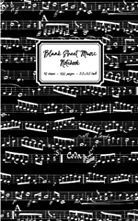 Blank Sheet Music Notebook: Black Music Notes cover, 10 stave staff paper, 100 pages, 5.5x8.5 inch Music Manuscript Paper ...