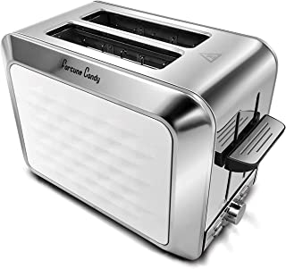 Fortune Candy Toaster 2 Slice Stainless Steel,Toaster for Bagels,Wide Slots Toaster with Removable Crumb Tray (White)